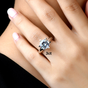 Image 5 - QYI כסף 925 טבעות נשים אירוסין כסף טבעות עגול מדומה יהלומי מאוד מבריק מתנה לחתונה טבעת אבן גודל 1/1.5/2/3 ct