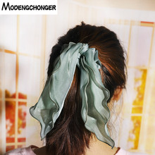 Long Tiara Satin Bow Tie Hair Scrunches Band Ribbon Ponytail Holder Rope Rings For Women Girl Tail Silk Accessories