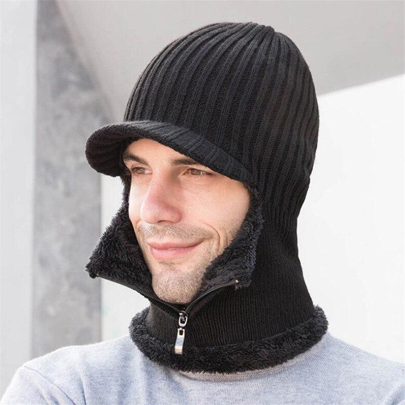 Мужской и женский шарф с капюшоном на молнии, зимняя теплая вязаная шапка и шарф из плюша с защитой ушей, кольцо и шарф для взрослых, 2019|Мужские наборы шарфов|   | АлиЭкспресс