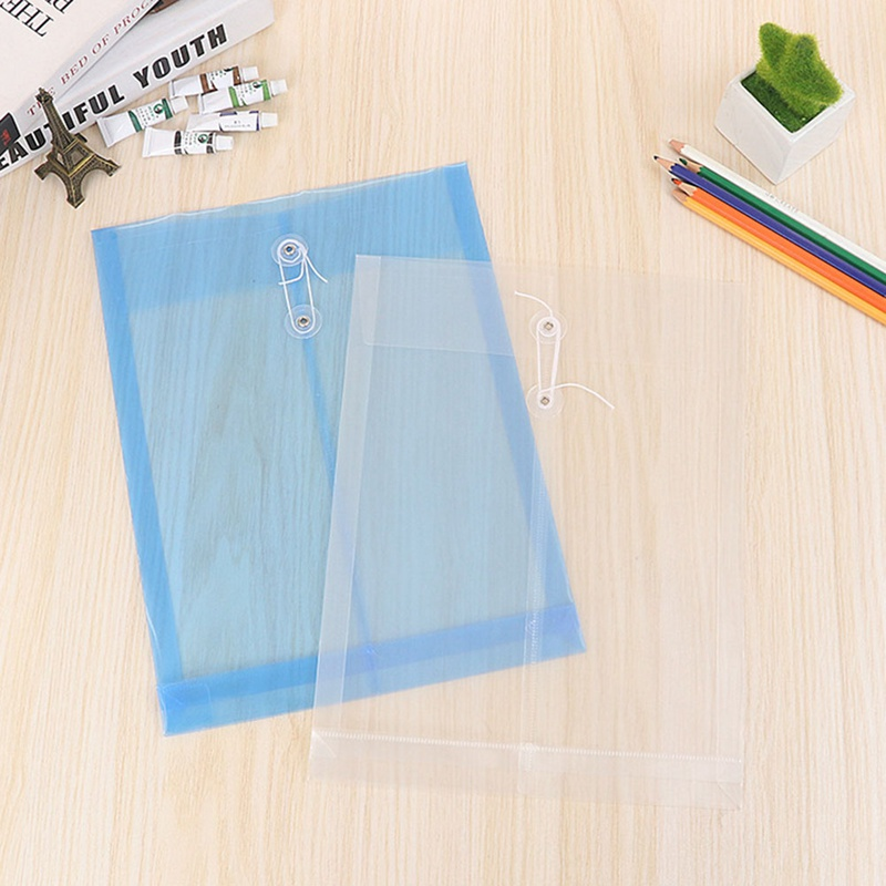 1 Pcs Effective A4 File Bag Transparent Plastic Portfolio Thick Waterproof Three-dimensional Vertical Rope Rope Kit
