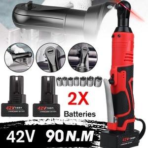 Электрический гаечный ключ, беспроводной, с храповым механизмом 90 Н · м, 42 в, 3/8 дюйма, с аккумулятором 1/2