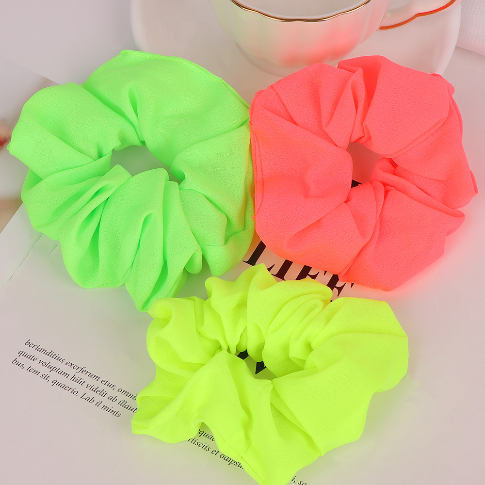 Women Girls Neon Scrunchies Elastic Hair Ties Solid Color Ponytail Holders Fluorescent Color Bright Rope Women Hair Accessories