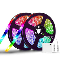 LEDストリップライト,1または2m,RGBバッテリー駆動,テレビのバックライトとして理想的,ベッドサイドテーブル,クローゼットに最適