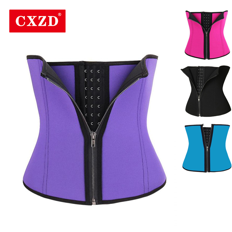 CXZD Women Waist Trainer Corset Zipper Hook Shapewear Double Control Body Shaper Tummy Fat Burning Waist Cincher