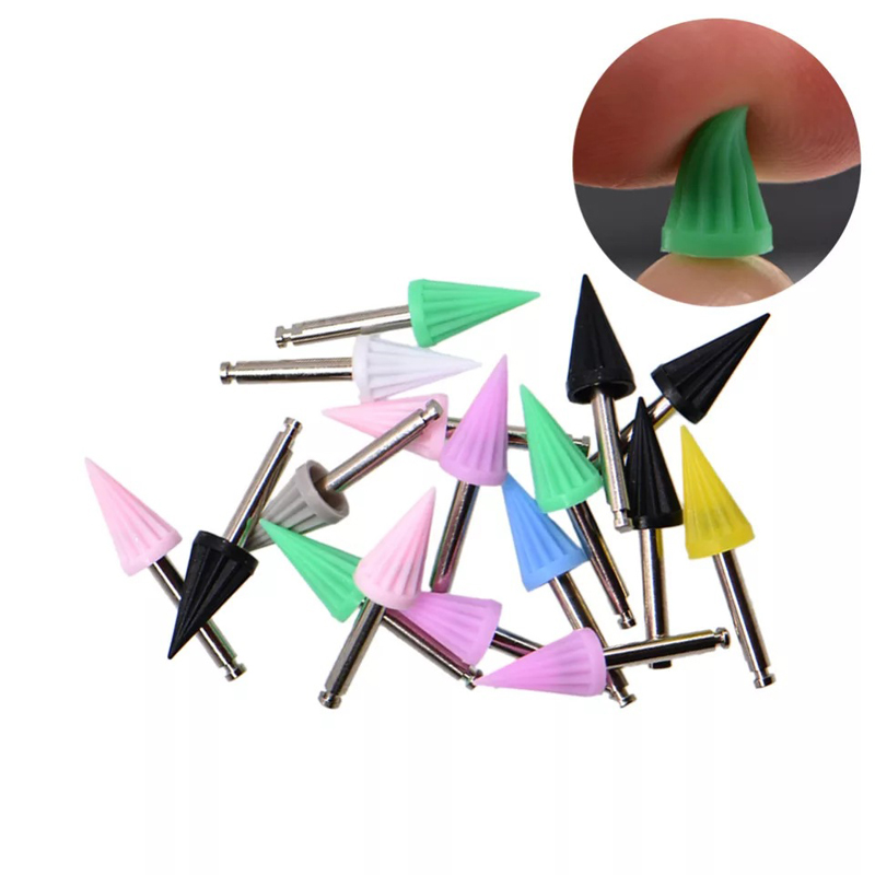 10pcs Dental Polishing Cup Brush Dentist Tool Rubber Silicone Tapered Prophy Lab Material Polishing Cup Teeth Whitening Products