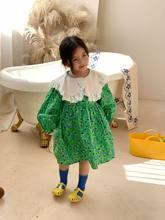 2021 primavera recém-chegados doce roupas infantis meninas vestido floral das crianças rendas lapela princesa vestido