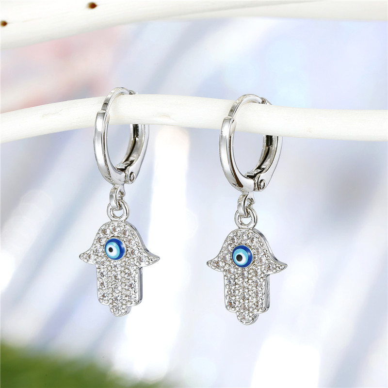 1Pair New Crystal Turkish Evil Eye Hand Hamsa Hoop Earrings For Women Personality Gold Metal Zircon Circle Earrings Jewelry