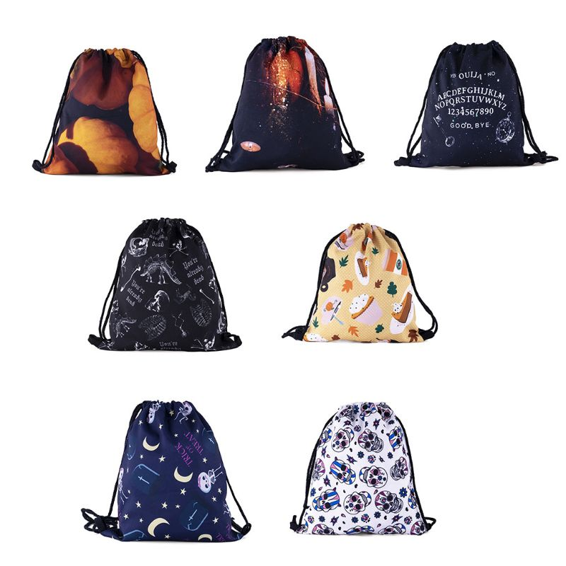 NoEnName_Null Portable Women Backpacks Print Shopping Bags Drawstring Backpack Travel Shop Bag