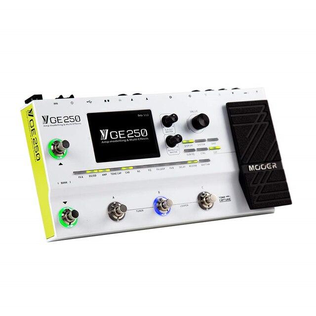 Mooer ge250 pedal de modelagem digital, pedaleira multiefeitos de guitarra com modelos de 180 e modelos de efeitos, 70 segundos modo pré/postagem