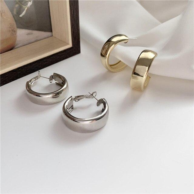 gold or silver small wide hoop earrings 3