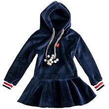 4 14Y Teenage Girls Winter Cute Dresses Hooded Sweater Plus Velvet Tutu Dress Teen Childrens Casual Dress Kids Clothing Costumes