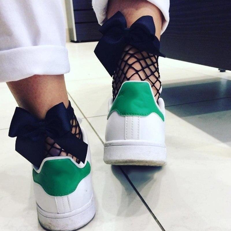 Fashion 2020 New Women Sexy Black Mesh Short Ankle Socks Christmas Girls Fishnet With Back Cute Bow Ladies Female Socks