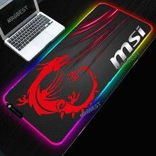 MSI Mouse Pad LED RGB Big Size XXL Gamer Anti-slip Rubber Pad Play Mats Gaming for Keyboard Laptop Computer PC