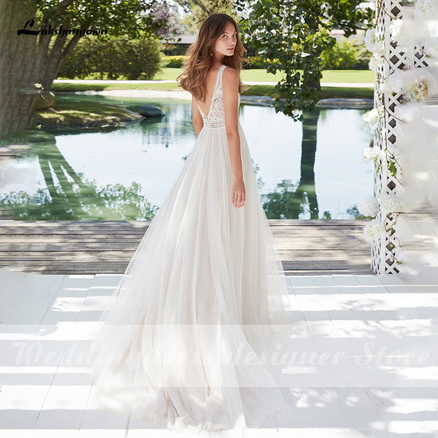 Boho Lace Wedding Dress 2021 Sleeveless Appliqued Beach Bride Dress A-Line Tulle Bride Wedding Gowns for Women vestido de novia 4