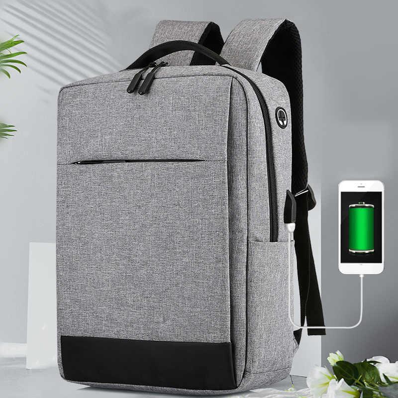 Mochila para ordenador portátil de 15,6 pulgadas con carga USB estilo informal resistente al agua de gran capacidad bolso para hombre y mujer Unisex bolsas de viaje