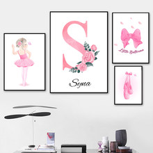 Custom Name Canvas Print Nordic Ballet Girl Poster Nursery Wall Painting Rosered Flower Print Wall Pictures Baby Girl Room Decor