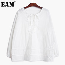 [EAM] Vrouwen Lace Spliced Bandage Hollow Out Blouse Nieuwe Ronde Lange Mouwen Loose Fit Shirt Mode Tij Lente herfst 2019 1B353(China)