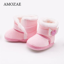 Baby Girls Newborn Baby Shoes High-top Solid Color Snow Boots Baby Boy Cuffed Sleeves Plus Velvet Thick Cotton Boots Cotton Shoe