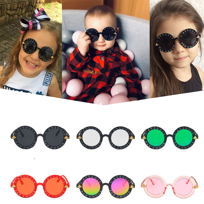 New Infant Kids Baby Girls Boys Fashion Sunglasses Child Small  Round Sunglasses Letter Solid Hot Sun Glasses 7 Colors