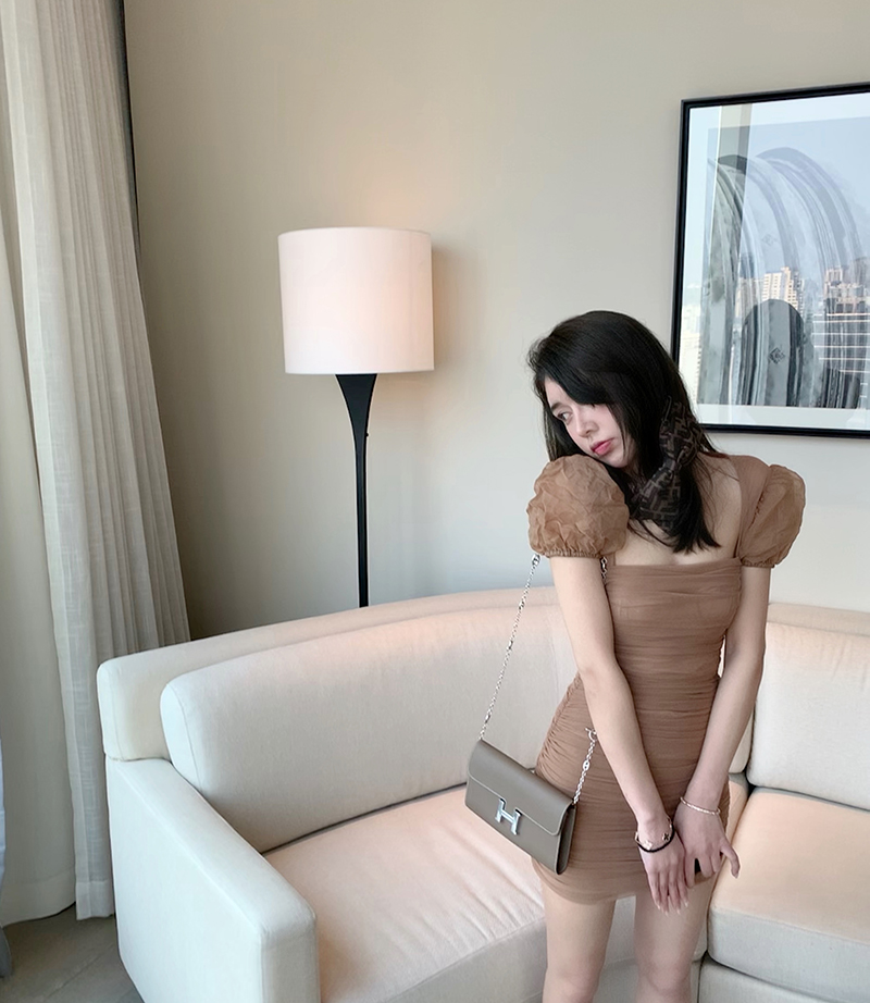 Korean version of the new   bubble sleeves pleated chestnut color tight package hip dress female summer