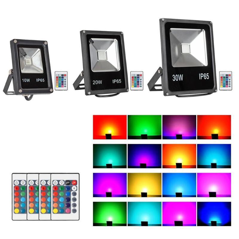 Color LED Spotlight RGB Flood Light Outdoor IP65 Waterproof Light 10/20/30W Courtyard Outdoor Lighting Decorative Light