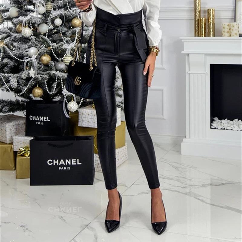 InstaHot Gold Black Belt High Waist Pencil Pant Women Faux Leather PU Sashes Long Trousers Casual Sexy Exclusive Design Fashion 16