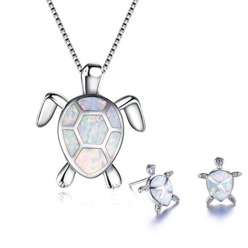 FDLK классическое милое Морское ожерелье с черепашкой, серьги, ювелирный набор, Трендовое животное, огненная серьга из опалового стержня для ...