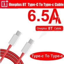 Original para oneplus 8 t 8 t urdidura tipo de carga c para tipo c cabo 6.5a carga rápida um mais 8 7 pro 7t 6 5t 5 3t 3 traço carregamento