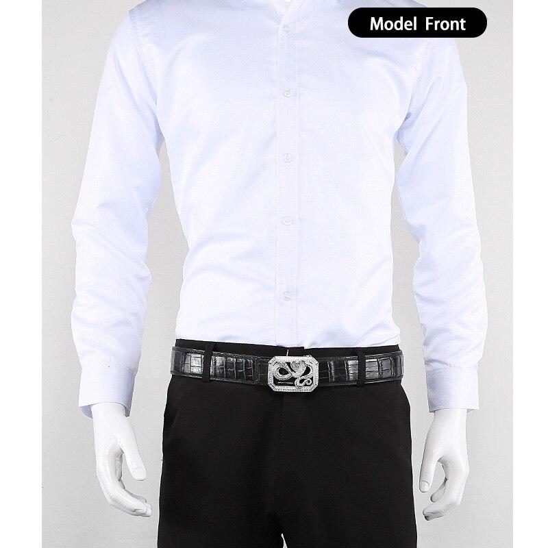 McParko Coccodrillo Cintura Mens Cinture In Pelle Con Fibbia di Lusso Animale di Disegno Del Cuoio Genuino Cinghia di Vita con strass Fibbia - 4