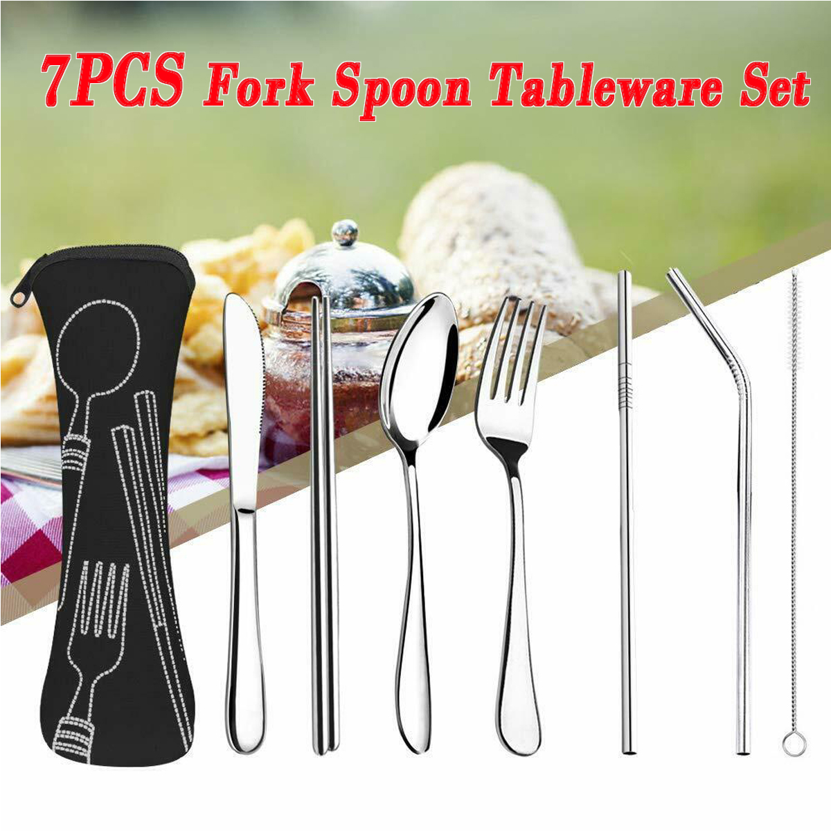 7Pcs Lunch Tableware Cutlery Set Stainless Steel Spoon Fork For Travel Outdoor