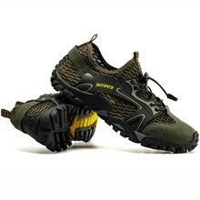 VEAMORS erkekler Sneakers Trekking yürüyüş ayakkabıları kaymaz nefes örgü tırmanma ayakkabı erkek yukarı su spor açık ayakkabı