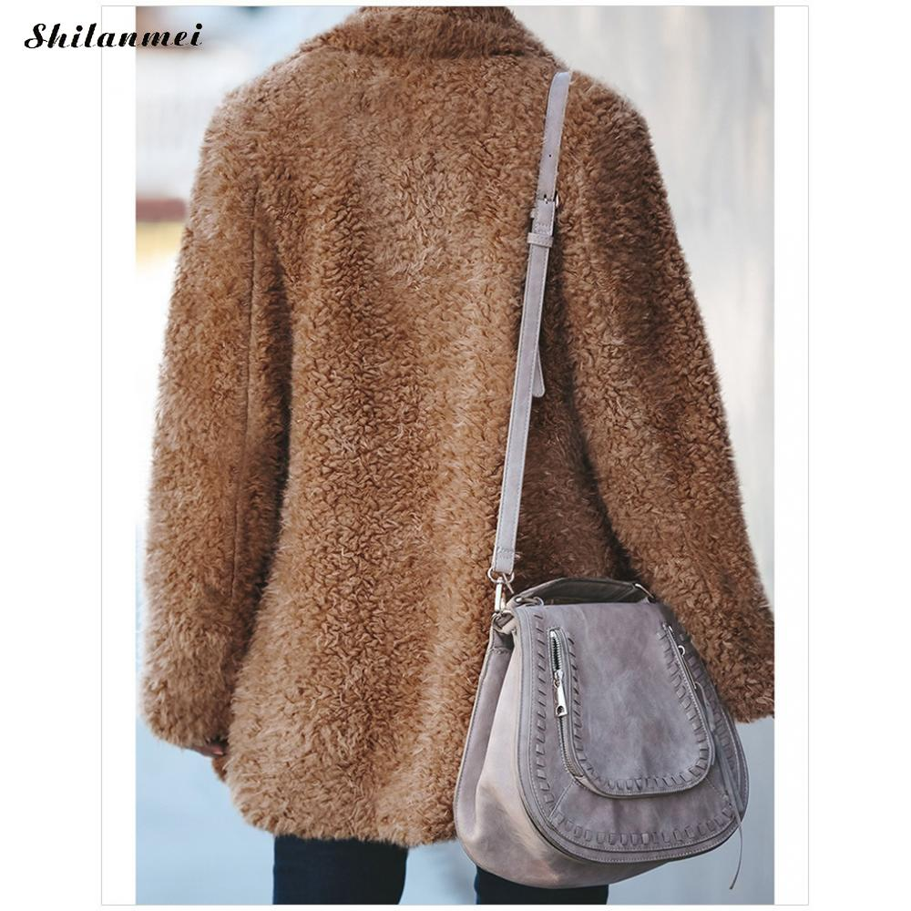 Plus Size Fleece Jacket Coat Women Autumn Winter Turn Down Collar Casual Plush Cardigan Female Fashion Brown Thick Teddy Coat in Jackets from Women 39 s Clothing