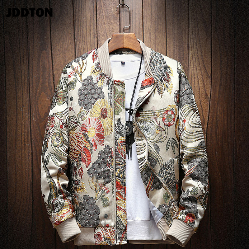 JDDTON Mens Japanese Embroidery Bomber Jacket Loose Baseball Uniform Streetwear Hip Hop Coats Casual Male Outwear Clothing JE081|Jackets| - AliExpress