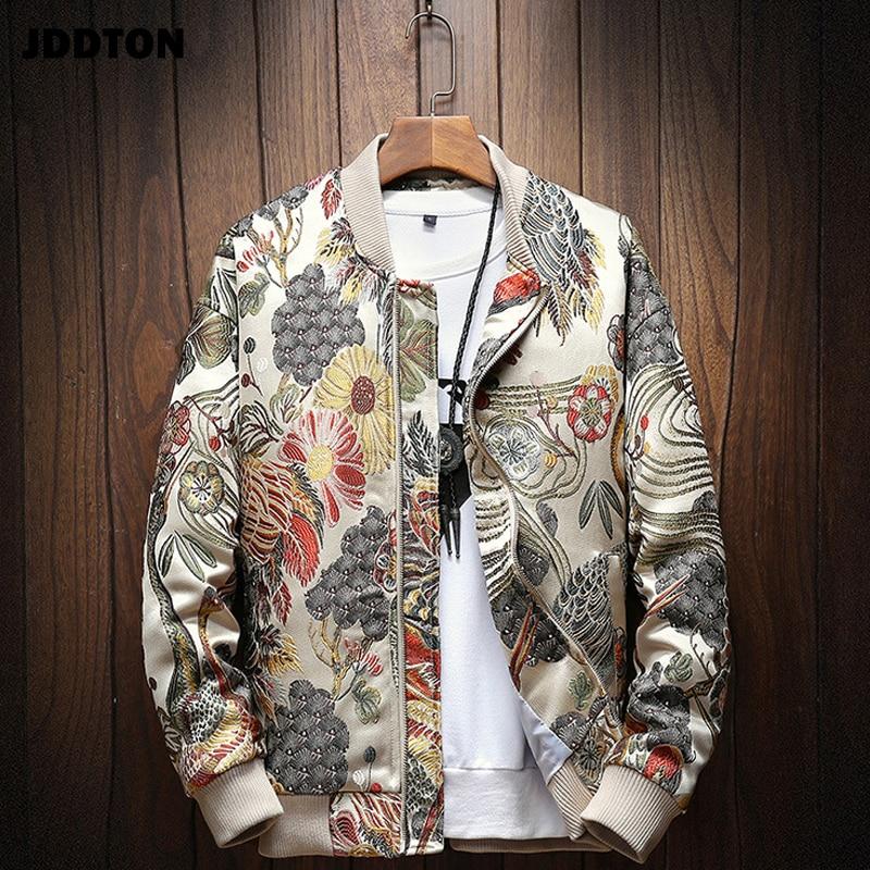 JDDTON Mens Japanese Embroidery Bomber Jacket Loose Baseball Uniform Streetwear Hip Hop Coats Casual Male Outwear Clothing JE081