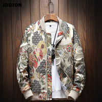 JDDTON Mens Japanese Embroidery Bomber Jacket Loose Baseball Uniform Streetwear Hip Hop Coats Casual Male Outwear Clothing JE081