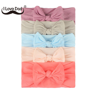 5pcs/Set Lovely Bowknot Baby Headband Solid Color Newborn Baby Girl Elastic Hair Bands Comfortable Nylon Baby Hair Accessories