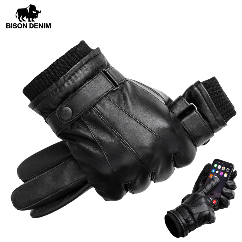 BISON DENIM Men's Genuine Leather Gloves Touch Screen Gloves For Men Winter Warm Mittens Full Finger Handschuhe Plus Velvet S019