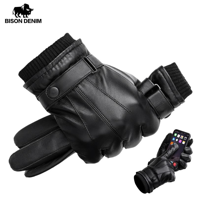 BISON DENIM Men's Genuine Leather Gloves Touch Screen Gloves For Men Winter Warm Mittens Full Finger Handschuhe Plus Velvet S019