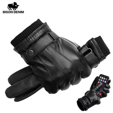 BISON DENIM Men's Genuine Leather Gloves Touch Screen for Men Winter Warm Mittens Full Finger handschuhe Plus Velvet S019