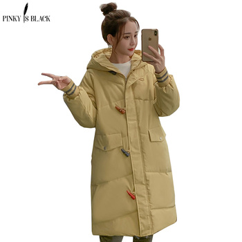 PinkyIsBlack Hooded Ladies Coat Long Parkas Oversize Winter Jacket Women Mid-long Thick Down
