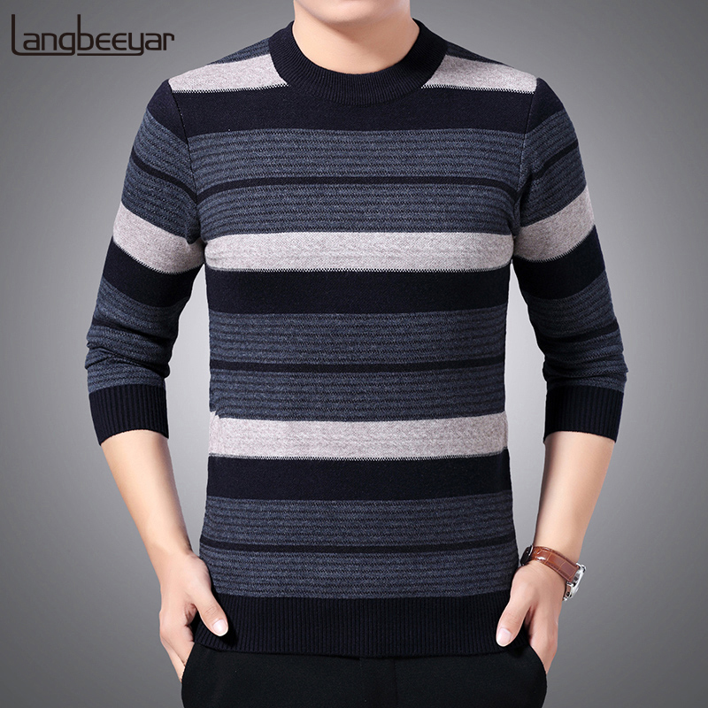 Thick Warm New Fashion Brand Sweaters Mens Pullovers Slim Fit Jumpers Knitwear Striped Winter Korean Style Casual Clothing Male