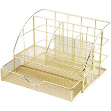 Undefined Rose Gold And Gold Mesh Desk Organizer Pen Holder Storage Caddy Mesh Office Supplies Accessories Drawer Office Дом#13