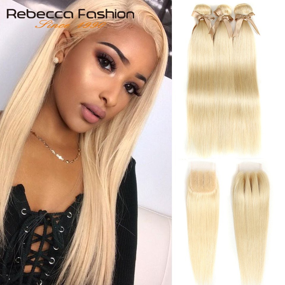 Rebecca 613 Bundles With Closure Malaysian Hair Weave Bundles Straight Remy Human Hair Honey Blonde Bundles With Closure image