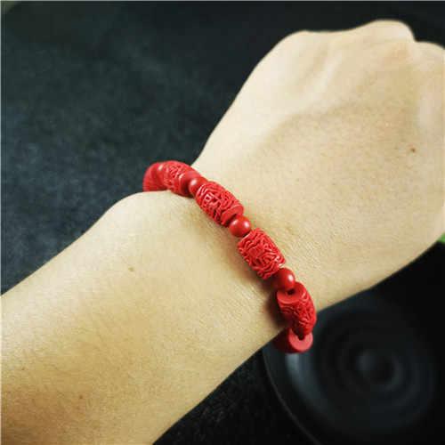 中国赤色有機辰砂彫刻ビーズ弾性ブレスレットファッション男性女性幸運お守りギフトジュエリー新 W9