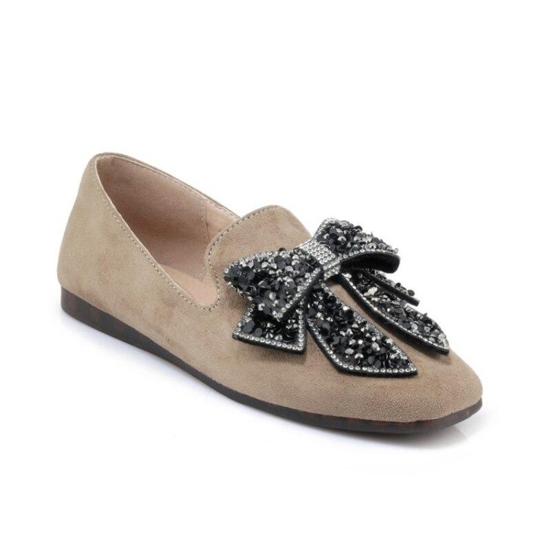 Nouveau printemps chaussures pour femmes Faux daim talons plats Sapatos Femininos nœud papillon paillettes Zapatos Mujer confort sans lacet chaussures mocassins