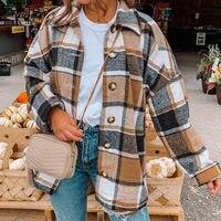 2020 giacca da donna scozzese autunnale lana calda allentata manica lunga monopetto camicia femminile giacche nuovo elegante cappotto da donna di moda