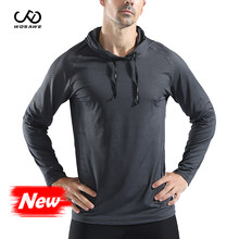 WOSAWE Sport T Shirts Men Long Sleeve hoodie Hooded Caps Comfortable Thin Fabric Anti-Sweat Workout Running Top Male Fitness Gym(China)