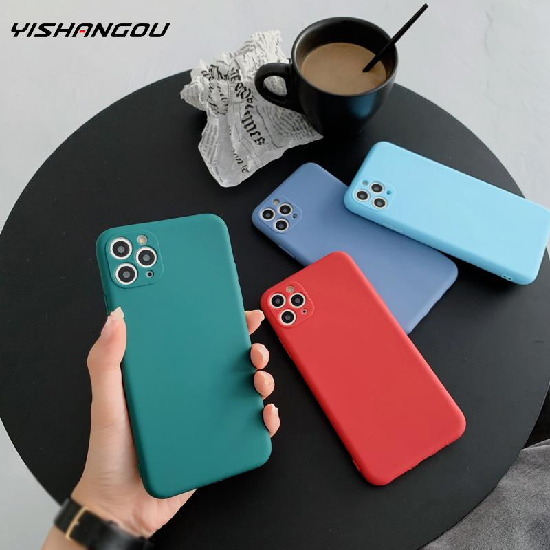 For iPhone 11 Pro Max SE 2020 XS XR Matte Soft Silicone Plain Candy Case Cover For iPhone 11 XS Max X 7 8 Plus 6 6s Plus Cases