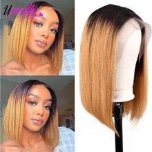 Волосы Upretty 613 блонд боб парик 1B синий зеленый розовый фиолетовый оранжевый серый Омбре цветные человеческие волосы парики 13x6 прямые кружев...