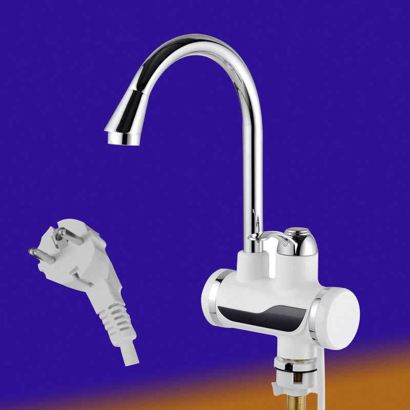 Instant Tankless Electric Water Heater Faucet Kitchen Instant Heating Tap Water Heater With Led Eu Plug